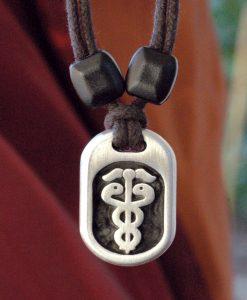 Metal Ice caduceus pendant