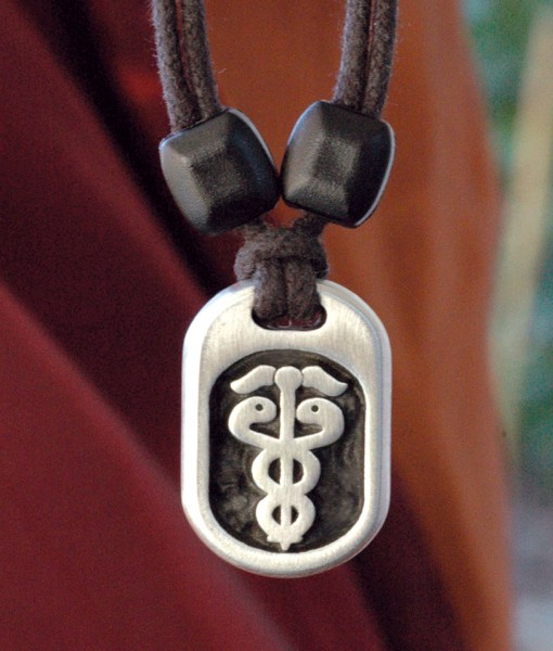 Metal Ice caduceus pendant