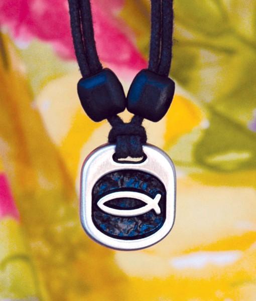 Metal Ice ichthus pendant