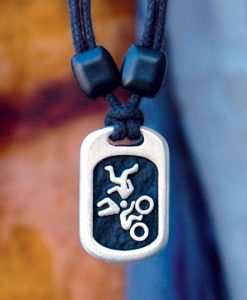 Metal Ice triathlete pendant
