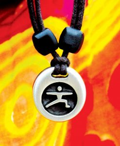 Metal ice yoga warrior 2 pendant