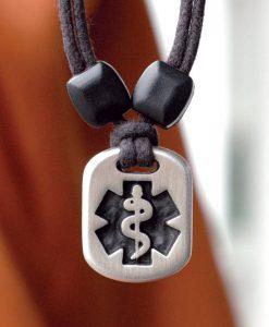 Metal Ice medic alert pendant