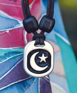 Metal Ice moon & star pendant