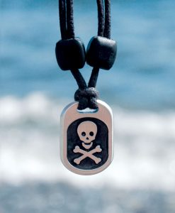 Metal Ice skull crossbones pendant