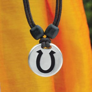 horseshoe pewter pendant