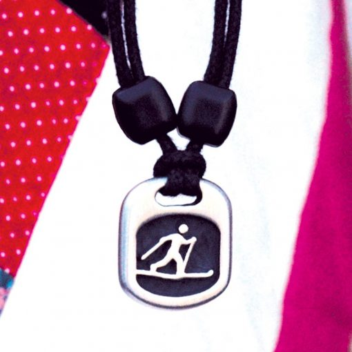 cross country skier pendant