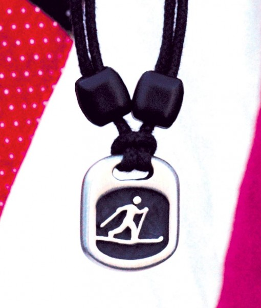 cross country skier pendant