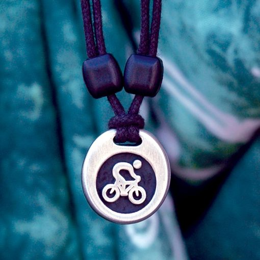 cyclist pewter pendant