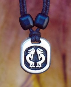 Metal Ice kokopelli pendant