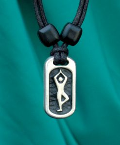 Metal Ice yoga tree pose pendant