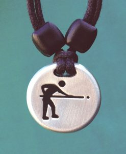 Metal Ice pool player pendant