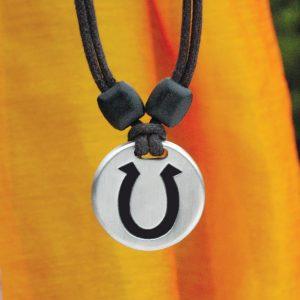 horseshoe pewter pendant
